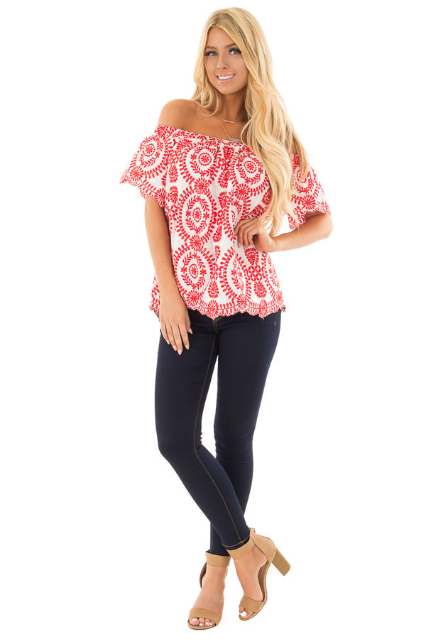 White and Cherry Red Embroidered Off the Shoulder Top front full body