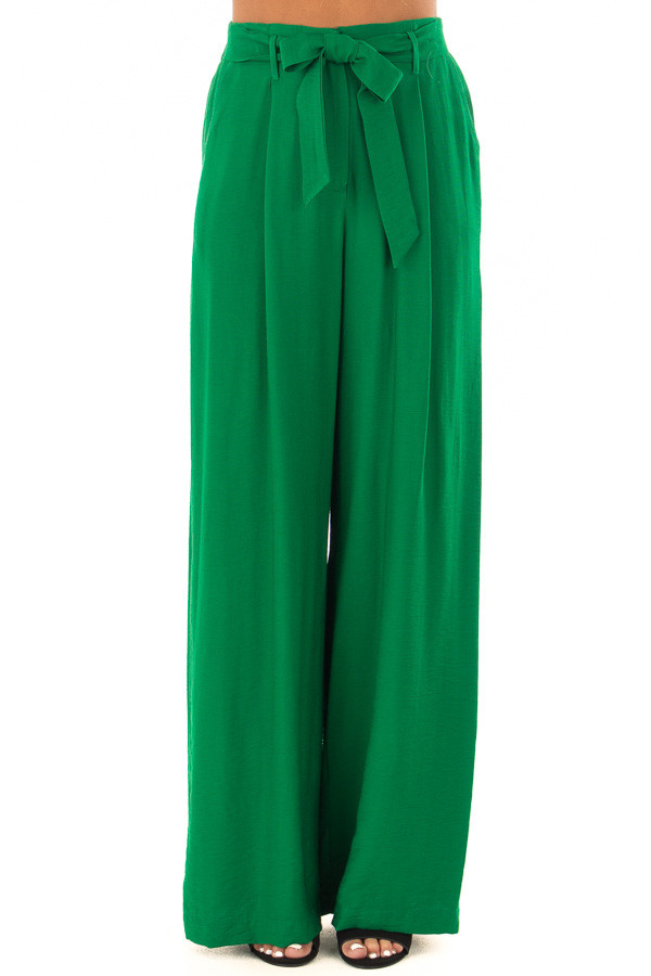 Kelly Green High Waisted Pleated Trousers with Waist Tie front view