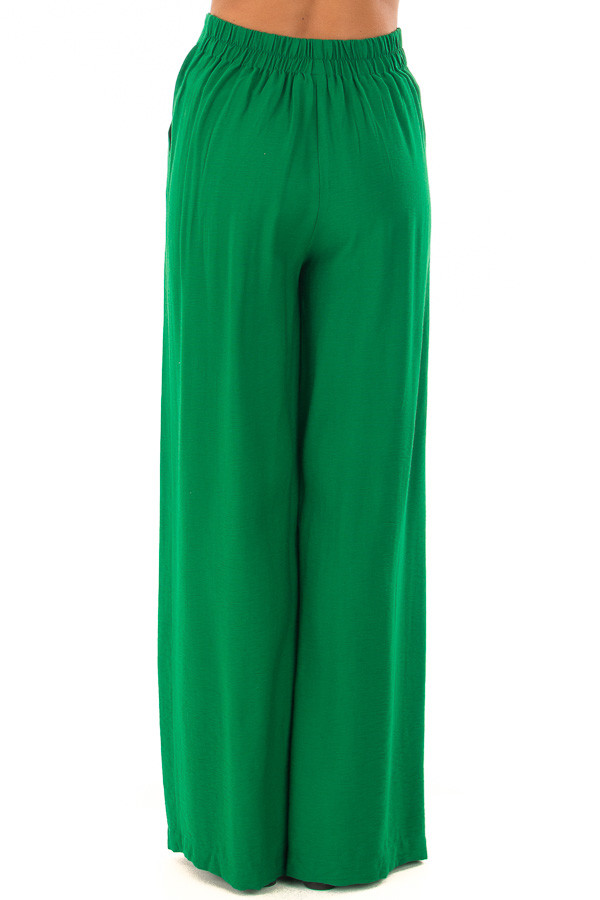 Kelly Green High Waisted Pleated Trousers with Waist Tie back view