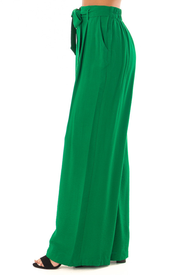 Kelly Green High Waisted Pleated Trousers with Waist Tie side view