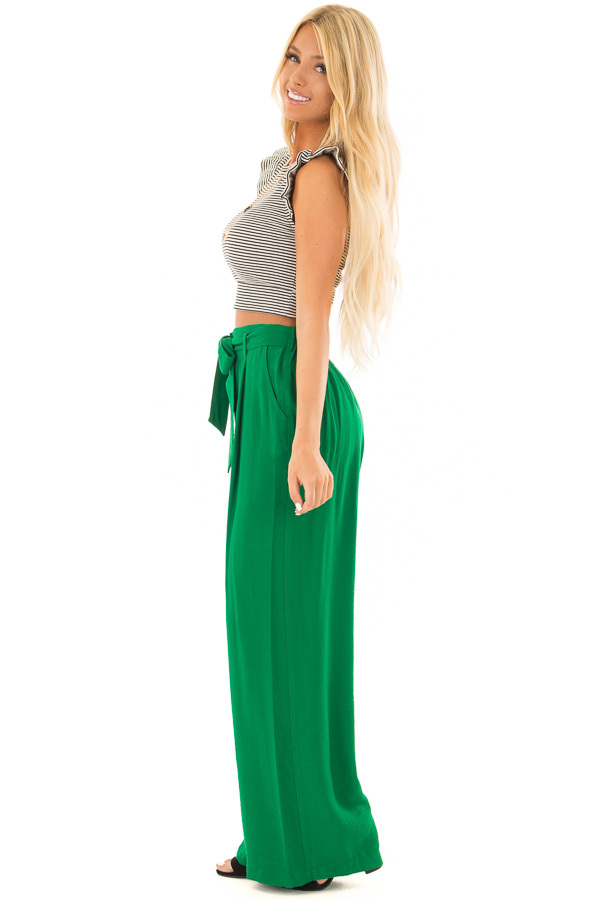 Kelly Green High Waisted Pleated Trousers with Waist Tie side full body