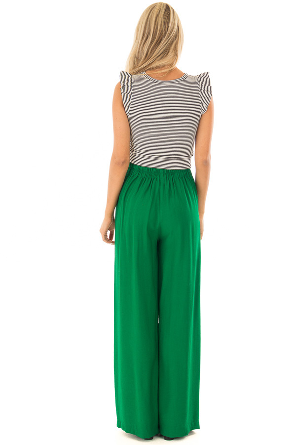 Kelly Green High Waisted Pleated Trousers with Waist Tie back full body