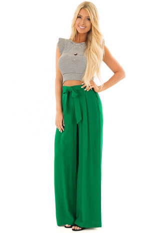 Kelly Green High Waisted Pleated Trousers with Waist Tie front full body