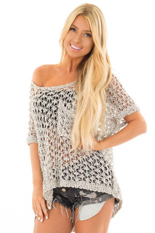 Natural Two Tone Sheer Loose Knit Top with Breast Pocket front close up