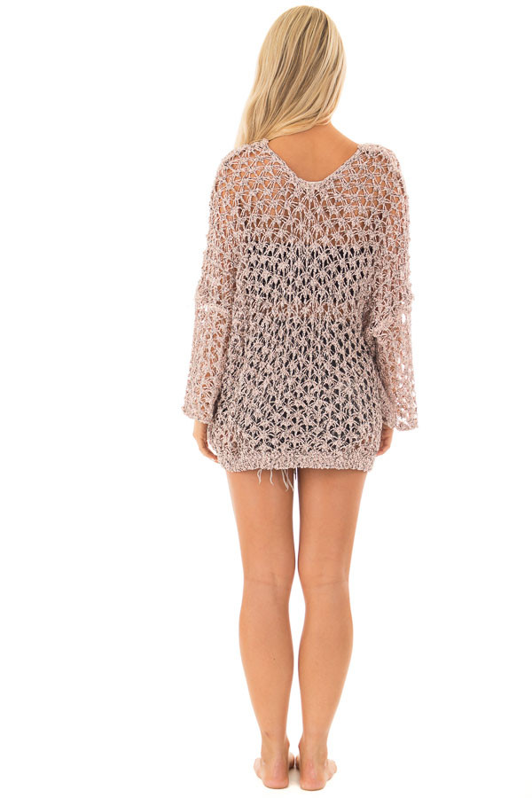Dusty Peach Two Tone Sheer Loose Knit Top back full body
