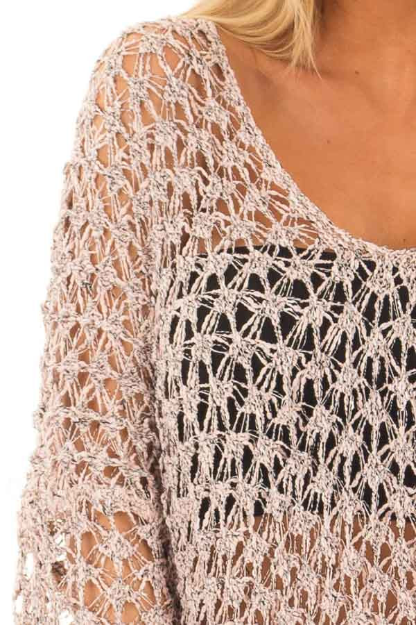 Dusty Peach Two Tone Sheer Loose Knit Top detail