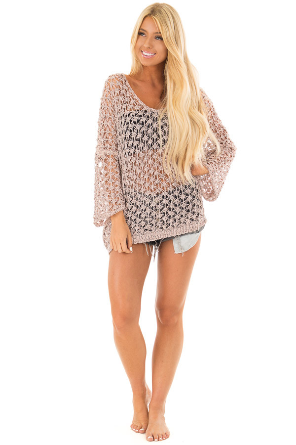 Dusty Peach Two Tone Sheer Loose Knit Top front full body