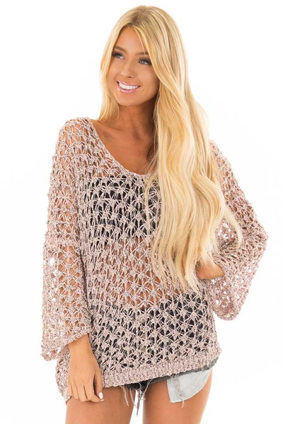 Dusty Peach Two Tone Sheer Loose Knit Top front close up
