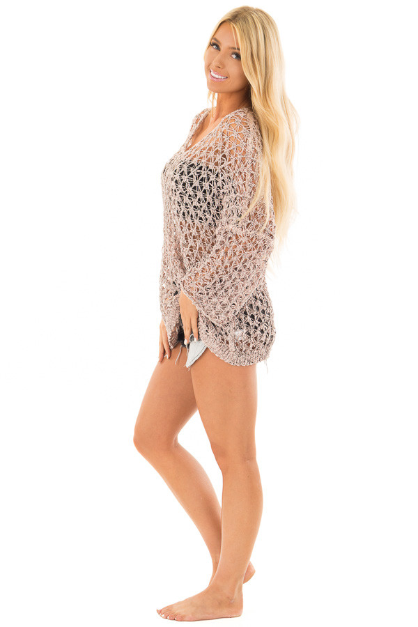 Dusty Peach Two Tone Sheer Loose Knit Top side full body