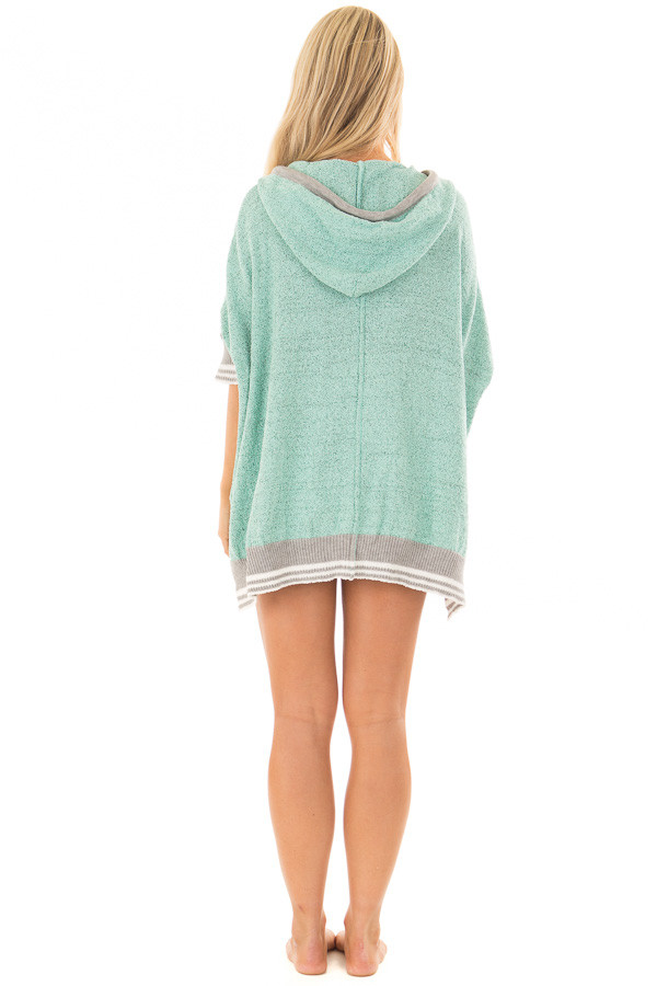 Mint Textured French Terry Hoodie with Star Graphic back full body