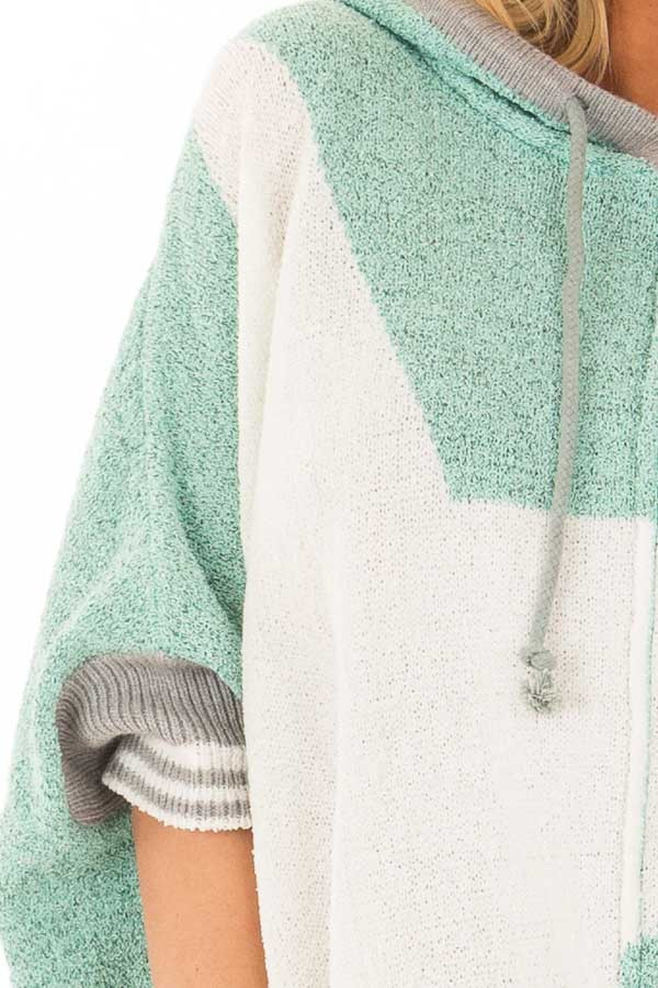 Mint Textured French Terry Hoodie with Star Graphic detail