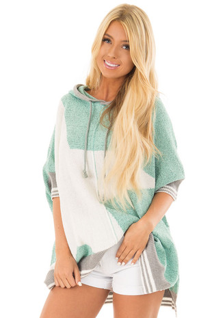 Mint Textured French Terry Hoodie with Star Graphic front close up