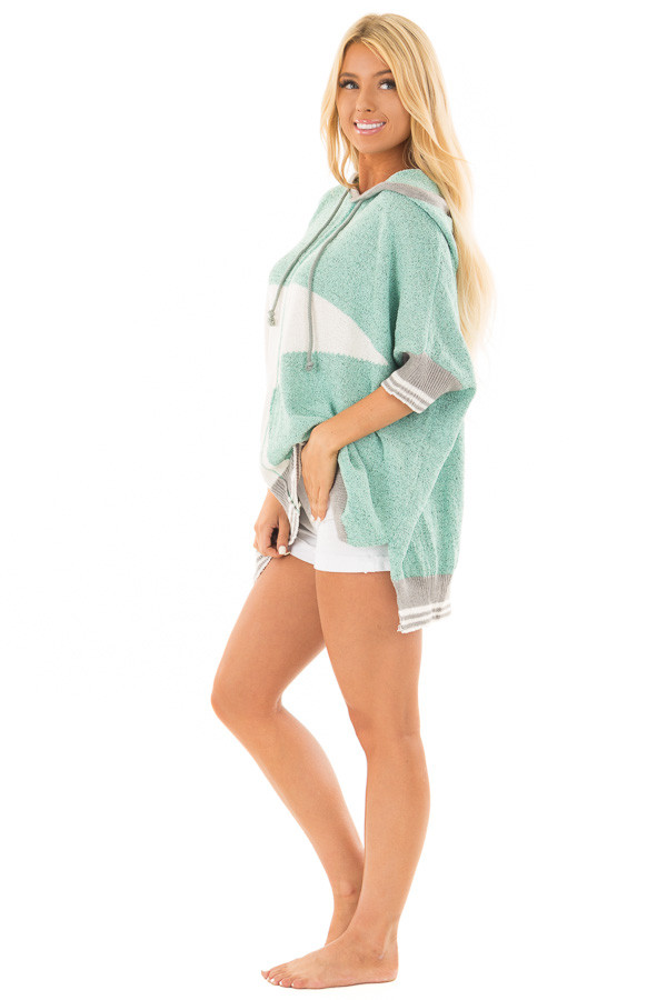 Mint Textured French Terry Hoodie with Star Graphic side full body