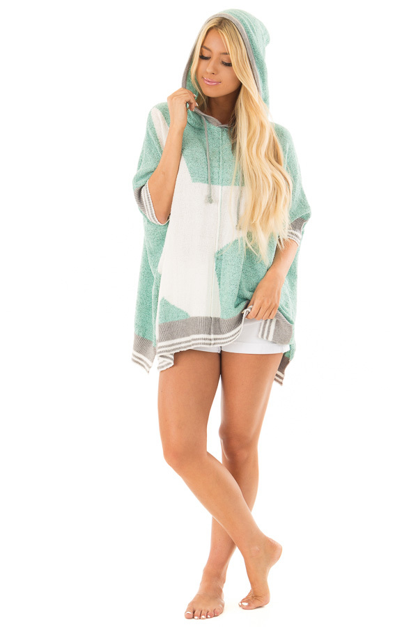 Mint Textured French Terry Hoodie with Star Graphic front full body