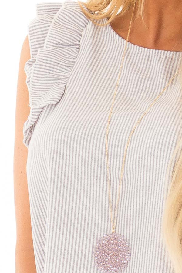 Heather Grey Striped Blouse with Layered Ruffle Sleeves detail