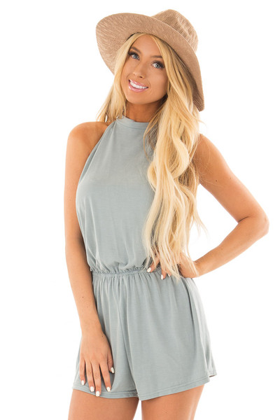 Slate Green Sleeveless High Neck Romper front close up