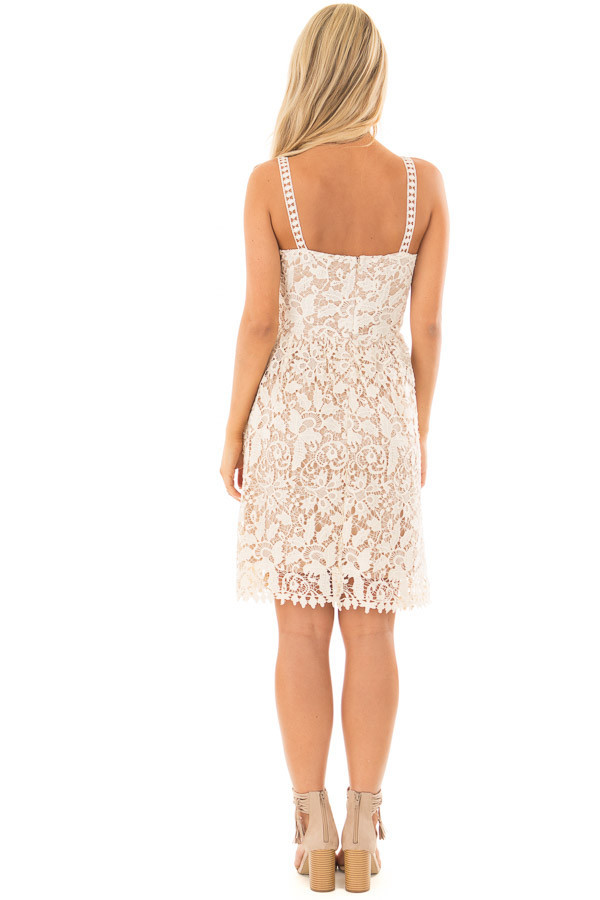 Cream Floral Crocheted Lace Dress with Contrast back full body