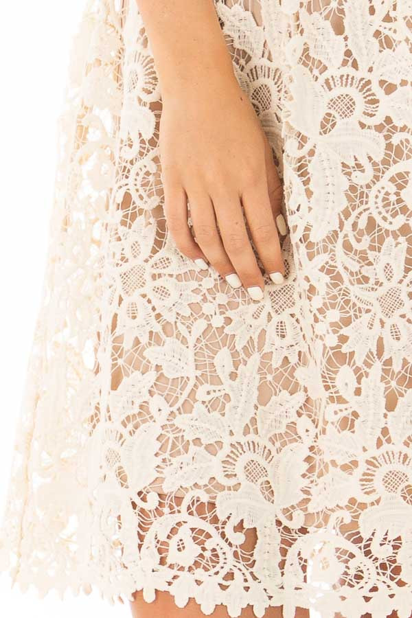 Cream Floral Crocheted Lace Dress with Contrast detail