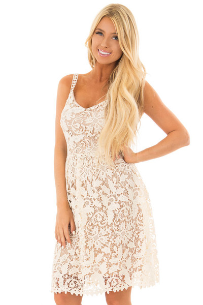Cream Floral Crocheted Lace Dress with Contrast front close up