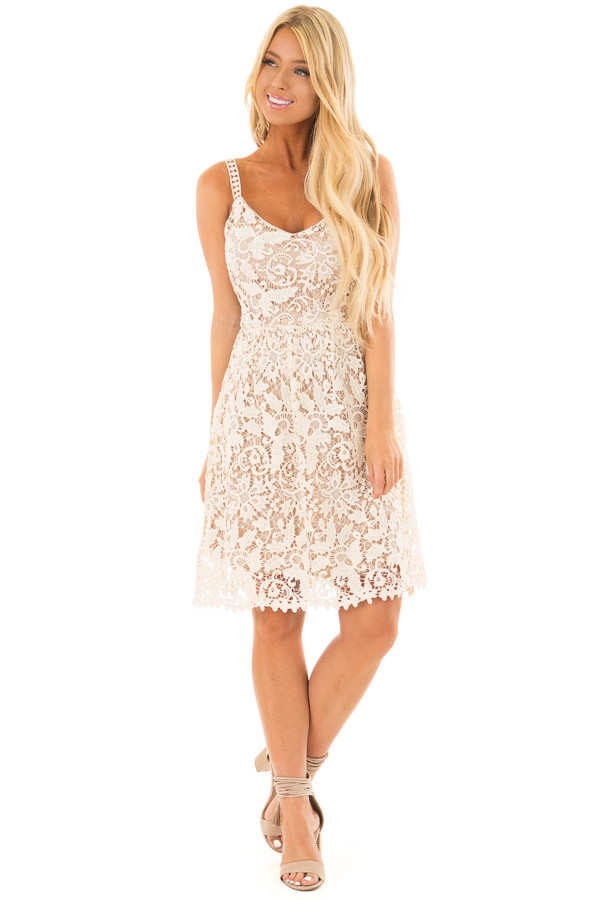 Cream Floral Crocheted Lace Dress with Contrast front full body