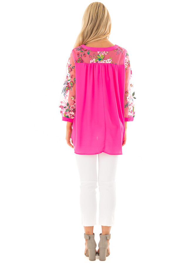 Hot Pink Long Sleeve Blouse with Embroidery Detail back full body