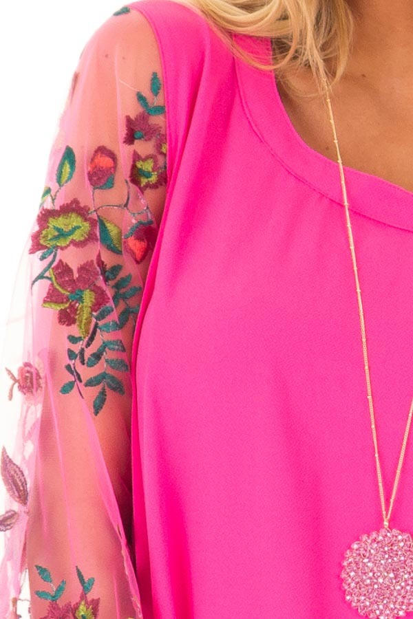 Hot Pink Long Sleeve Blouse with Embroidery Detail detail