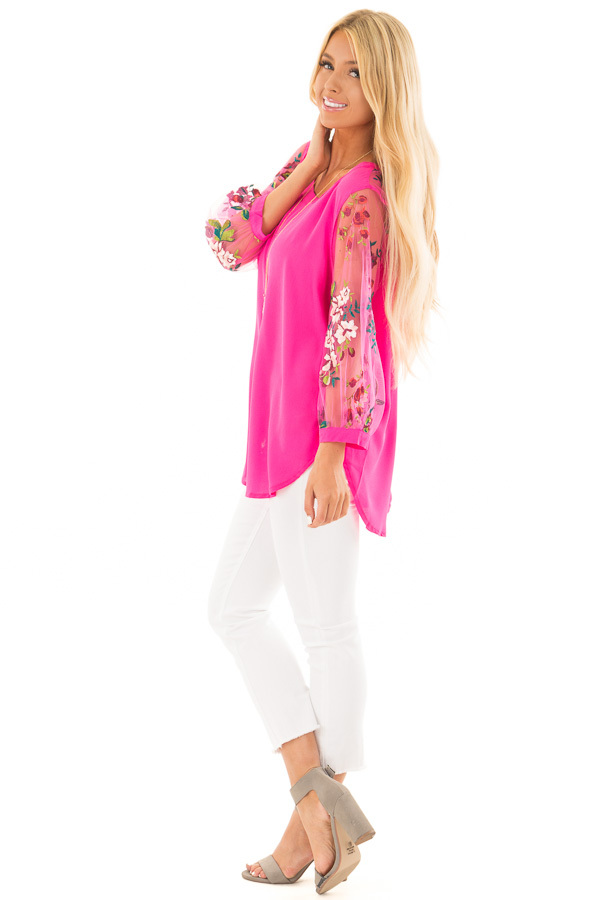 Hot Pink Long Sleeve Blouse with Embroidery Detail side full body