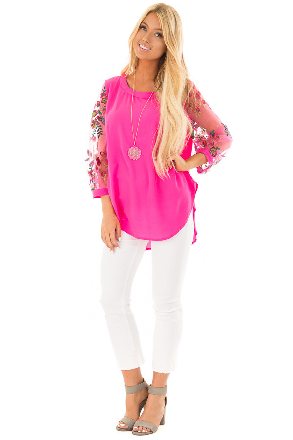 Hot Pink Long Sleeve Blouse with Embroidery Detail front full body