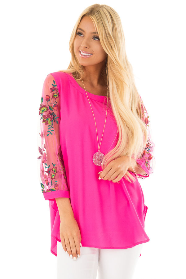 Hot Pink Long Sleeve Blouse with Embroidery Detail front close up