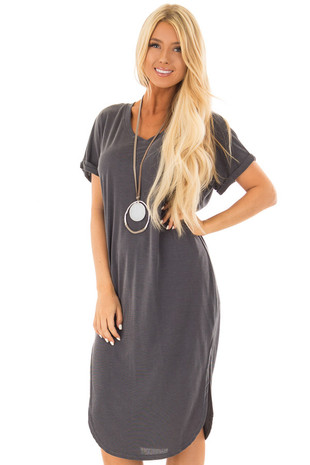 Charcoal V Neckline Dress with Side Slits front close up