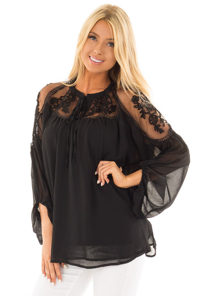 Black Blouse with Sheer Lace Yoke and Tie Neckline front close up