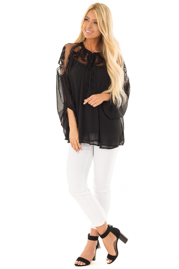 Black Blouse with Sheer Lace Yoke and Tie Neckline front full body