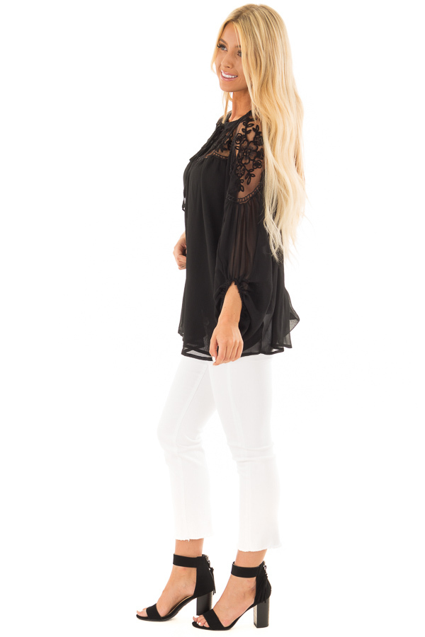 Black Blouse with Sheer Lace Yoke and Tie Neckline side full body