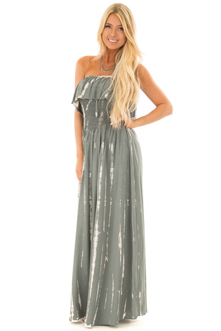 Heather Grey Tie Dye Strapless Maxi Dress front full body