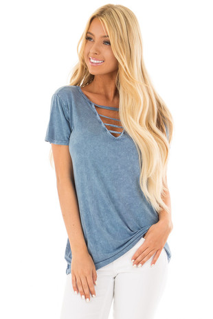 Dusty Blue Mineral Wash Top with Chest Cut Out front close up