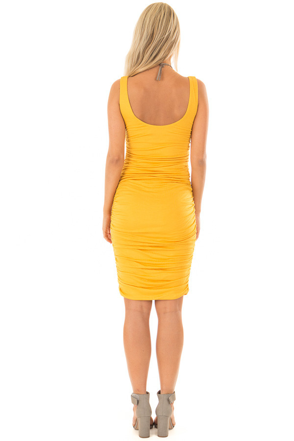 Mustard Tank Top Dress with Side Ruching back full body