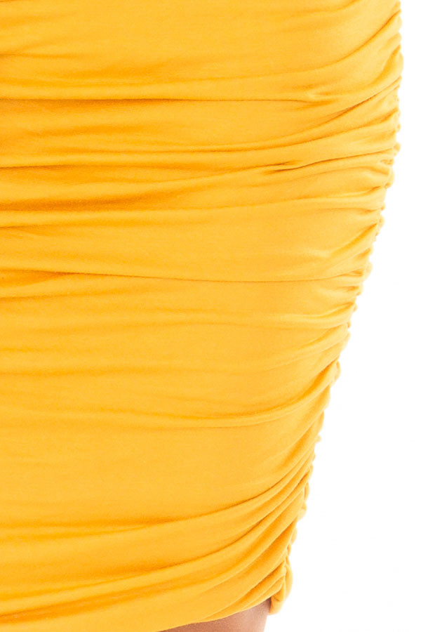 Mustard Tank Top Dress with Side Ruching detail