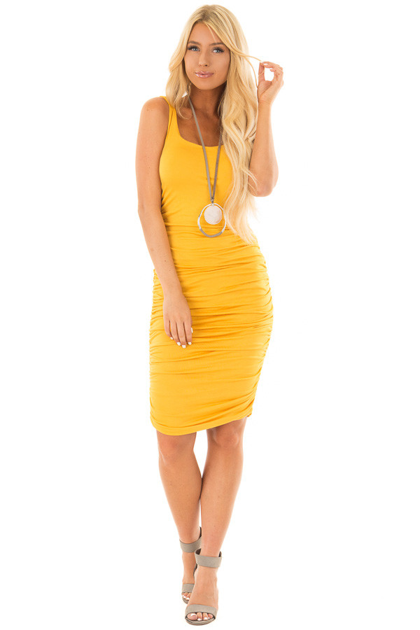 Mustard Tank Top Dress with Side Ruching front full body