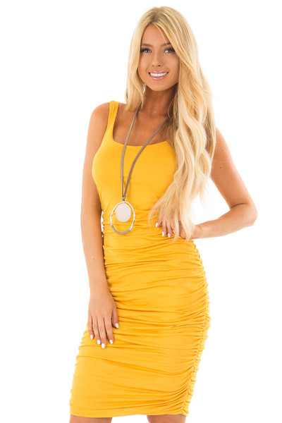Mustard Tank Top Dress with Side Ruching front close up