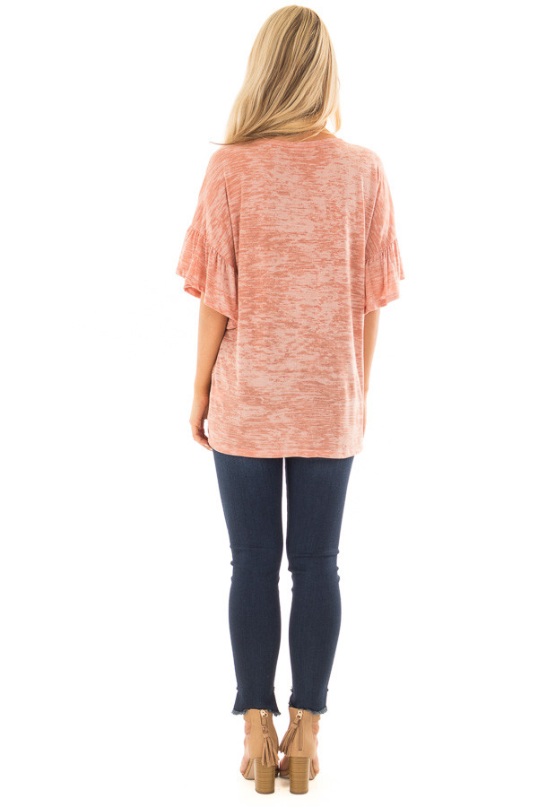 Dusty Peach Two Tone Top with Cut Out Neckline back full body