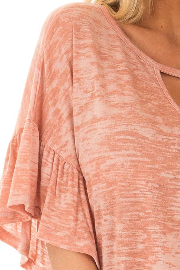 Dusty Peach Two Tone Top with Cut Out Neckline detail