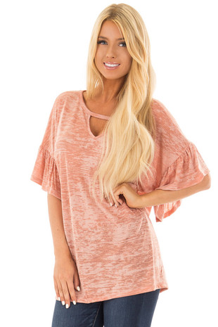 Dusty Peach Two Tone Top with Cut Out Neckline front close up