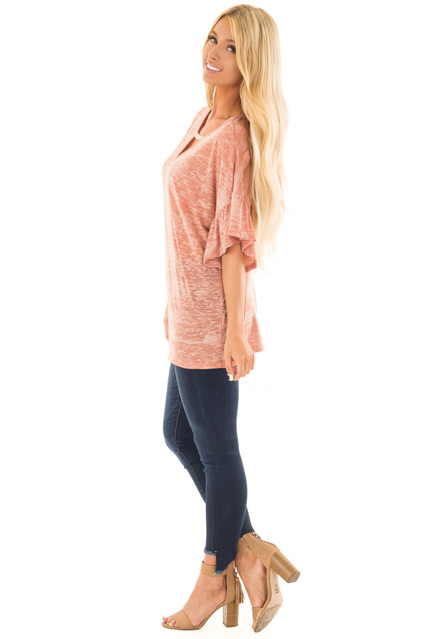 Dusty Peach Two Tone Top with Cut Out Neckline side full body