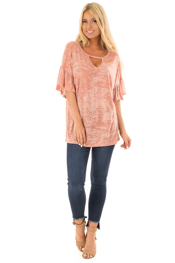 Dusty Peach Two Tone Top with Cut Out Neckline front full body