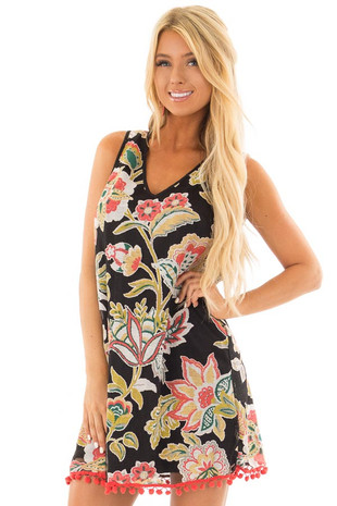 Black Floral Print Dress with Pom Pom Hemline front close up