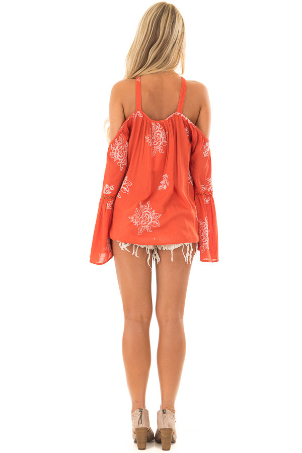 Rust Bell Sleeve Top with Floral Embroidery back full body