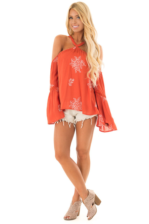 Rust Bell Sleeve Top with Floral Embroidery front full body