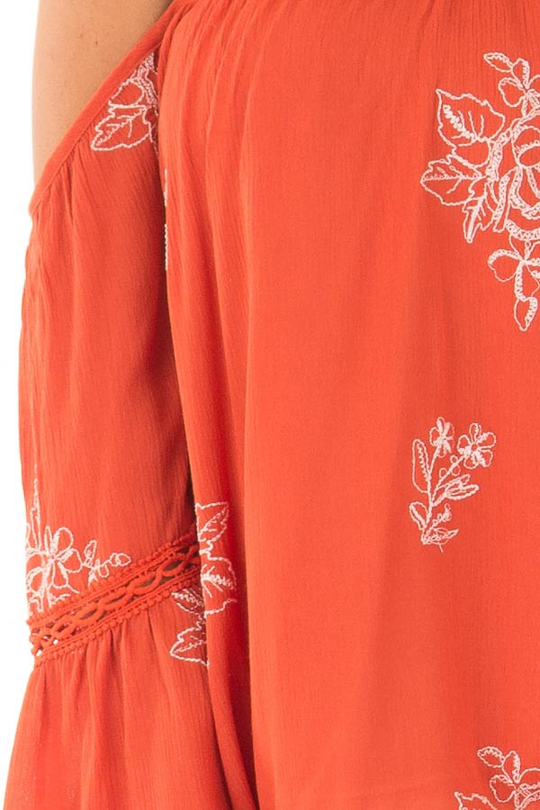 Rust Bell Sleeve Top with Floral Embroidery detail