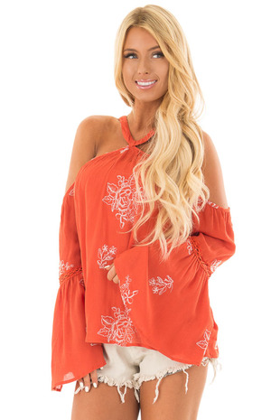 Rust Bell Sleeve Top with Floral Embroidery front close up