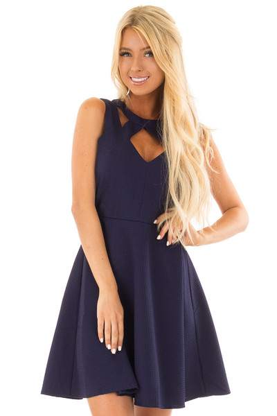 Navy Textured Dress with Neckline Cut Outs front close up